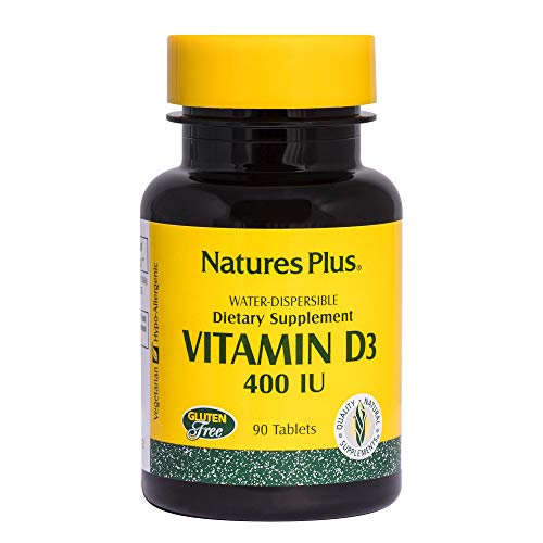 - Natures Plus Vitamin D3 (Cholecalciferol) - 400 IU, 90 Tablets - Bone Health, Heart Health & Immune System Support Supplement, Water Soluble for Maximum Absorption - Gluten Free - 90 Servings