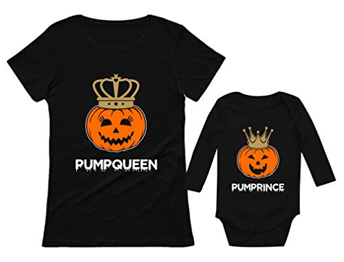 Halloween PumpQueen PumpPrince Mom & Son Shirts Jack O Lantern Matching Set Queen Black Small/Prince Black 12M (6-12M)