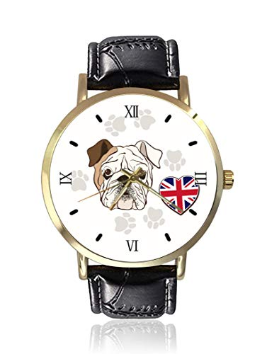 - English Bulldog Traces and Heart Flag Wrist Watch Unisex Fashion Black Leather Strap Stainless Steel Round Gold Dial Plate Wristwatch