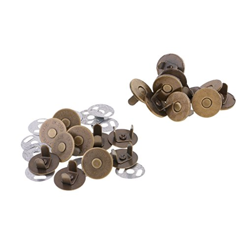 Jili Online 10 Sets Magnetic Button Magnet Clasp Snaps Fasteners for Sewing, Scrapbooking, Craft, Purses, Bags, Clothes, Leather Craft, DIY Accessories - bronze, 14mm