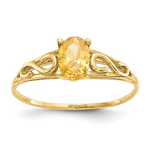 Size 7 - Solid 14k Yellow Gold Synthetic Simulated Citrine Ring (1mm)