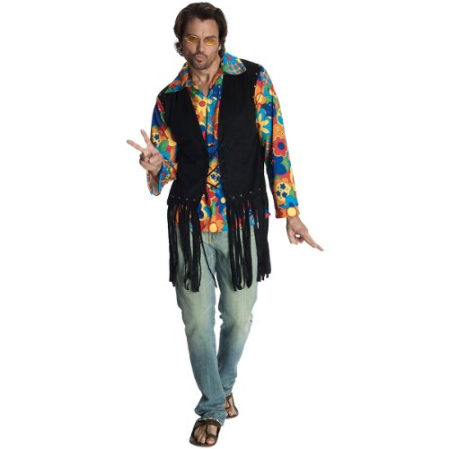 Rubie's Heroes And Hombres Adult Flower Power Costume Vest, Yellow/Blue/Red/Green/Black, Standard ()