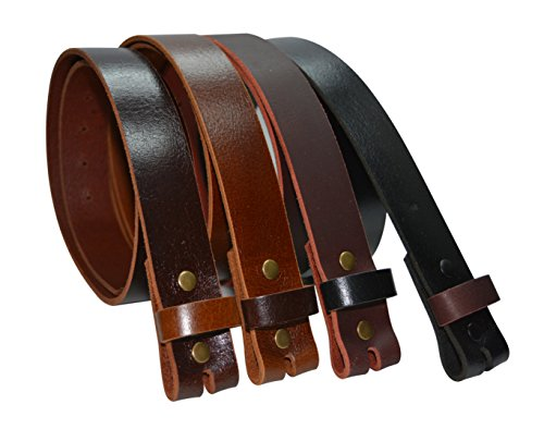 BLS34L - Toneka Color Block One Piece Buffalo Leather Strap Snap On Replacement Belt (38, (Tan Aniline Leather)