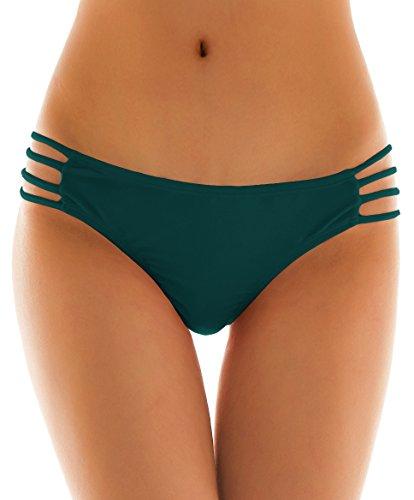Solid Strappy String Bikini Panties Hipster Thong Swimwear Bottom (Large/(US 12-14), Valley Green) ()