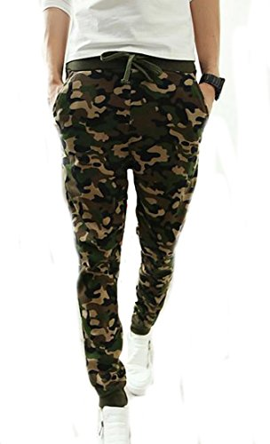 Happy Men's HIPHOP Arrival Camouflage Jogger Casual Harem Pants L Army green