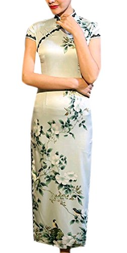 Split Fit Classy Printing Sleeve Short Cheongsam Dress Coolred Women Pattern3 Trim Silk Maxi 6wfaqFn0x