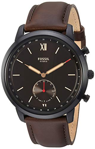 Fossil Men's Hybrid Smartwatch Stainless Steel Watch with Leather Strap, Brown, 21.3 (Model: FTW1179)