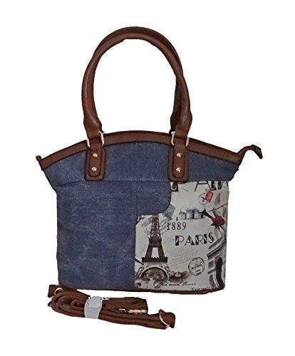 Tasche, Umhängetasche,Jeanstasche mit Fotodruck Eiffelturm Paris blau