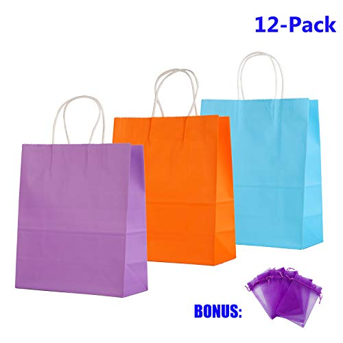 12 Medium Paper Kids Gift Bags, Assorted Goody Tote Loot Set for Party Favor Supplies on Boys/Girls Birthday, Showers, Retails Shopping Restaurant Takeout, Store Owner (Purple_Blue_n_Orange) ()
