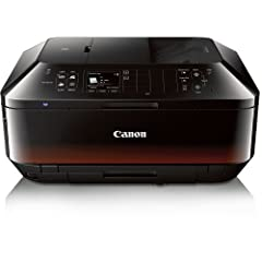 The Canon PIXMA MX922 Energy Star Wireless Inkjet Office All in One Printer prints in black and white at 15 ipm, in color at 10 ipm, and can output a borderless 4.0 x 6.0 inch photo in 21 seconds. Print borderless photos right at home using t...