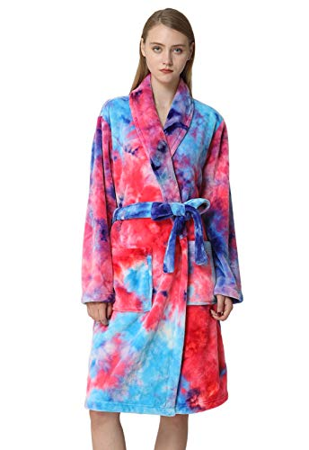 (Anna King Women's Flannel Robe Fleece Super Soft Warm Luxurious Plush Bathrobe S-XL )