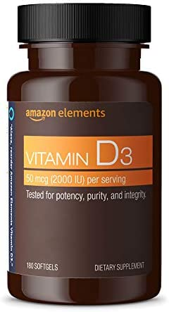 Amazon Elements Vitamin D3, 5000 IU, 180 Softgels, 6 month provide (Packaging would possibly range), Supports Strong Bones and Immune Health