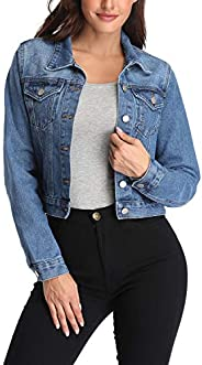 andy & natalie Women's Denim Jackets Oversize Long Sleeve Basic Button Down Jean Jacket with