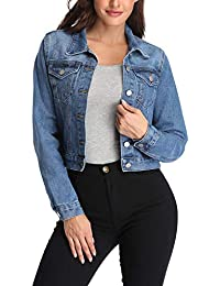 Women's Denim Jackets Oversize Long Sleeve Basic Button Down Crop Jean Jacket with Pockets