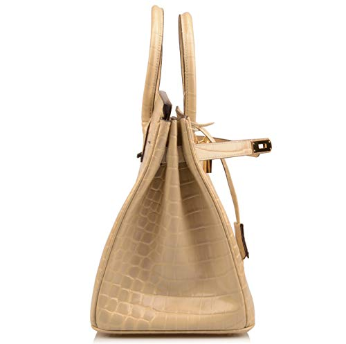 Qidell Women's Padlock Patent Leather Crocodile Embossed Handbag On Clearance (35 cm.Taupe) by QIDELL (Image #3)