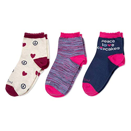 Life is Good Big Girls 3-Pack Anklet Socks, Large (Fits Shoe Size 13-4), Peace Love/Cupcakes Navy
