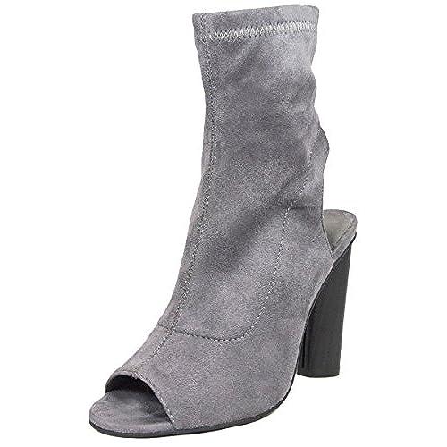 cheap BETANI Women's Peep Toe Cut Out Open Back Heel Zipper Bootie for cheap