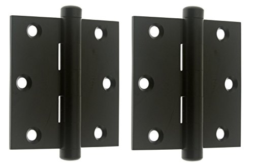"Professional Grade Genuine Quality Solid Brass 3"" x 3"" Full Mortise Square Corner Door Hinges by idh (Pair) (Matte Black)"