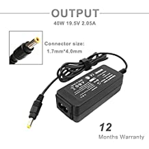 CIHA 40W 19.5V 2.05A 14 Ft AC Adapter Laptop Charger for Hp Mini 110 110-3030nr 110-3135dx 110c 210 210-1000 1010 1010ca 1010nr 1050nr 1070nr 1080nr 1085nr 1090nr 1092dx 1095nr Pa-1400-18hl 584540-001