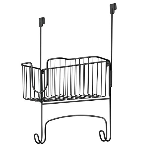 InterDesign Ironing Board Holder Rack with Storage Basket for Clothes Iron - Over Door/Wall-Mount, Matte Black 38067