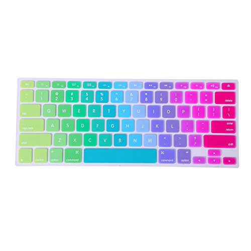 HDE Ultra Thin Silicone Rubber Keyboard Skin Cover for Macbook Pro Non Retina 13/15/17 (Metallic Rainbow)