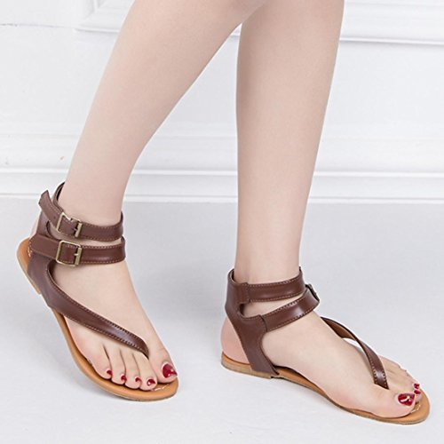 HLHN Women Sandals,Roman Gladiator Buckle Ankle Strap Flat Heel Flip Flops Open-Toe Shoes Vintage Lady Brown