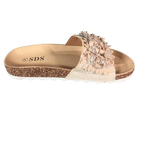 Sandaletten Sandalen Beige Blumen Damen Pantoletten PG70 Slipper Schuhtraum Komfort Glitzer wXq4SUFF
