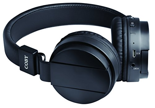 Coby Bluetooth Headphone (Coby CHBT-608-BLK Flex Bluetooth Headphones with Built-In Mic, Black)