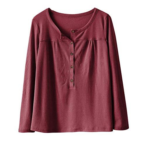 Chic Pull Longue Automne V Elecenty Femme Hiver Causal Huat Chemise Manche Top En Rouge Shirt Tricot Col À Button q6OwqP