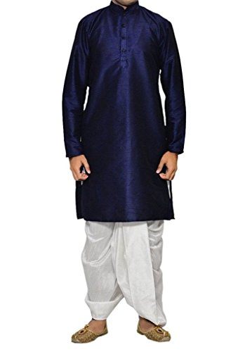 Dhoti Kurta (Royal Kurta Indian Ethinc Wear Men's Blue Dhoti Kurta Set Traditional Bollywood Dress)