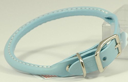 "Auburn Leather Pet Dog Collar Round Rolled 8""-10"" - Baby Blue"