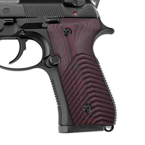 Sunburst Spacers - EXEL G10 Grips Beretta 92/96, Super Slim Full Size, Wave Texture,Cherry Color G10, Cool Hand B92-7-6