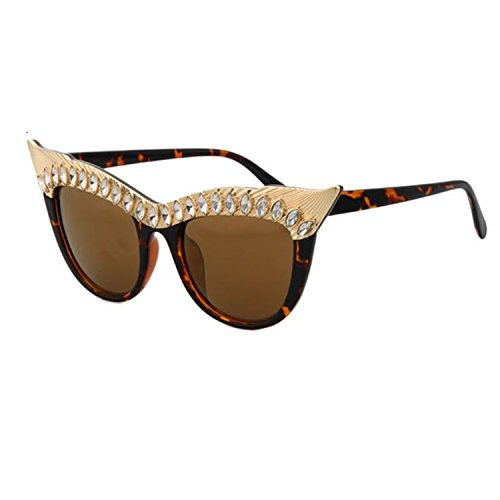 WIIPU Women's Metal Punk Rock Rhinestone Cat eye Sunglasses(S284) (leopard, brown)
