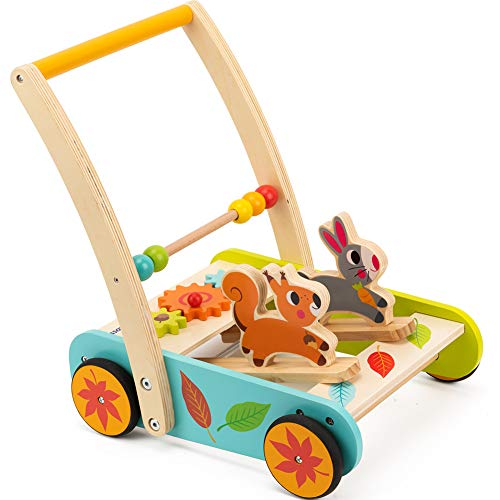 (cossy Wooden Baby Learning Walker Toddler Toys for 1 Year Old Rabbit and Roll Cart Push and Pull Toy )