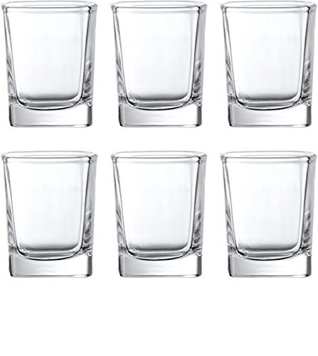 e Square Shot Glasses, Set of 6, 2.3 Ounce, Clear, Limited Edition Glassware Whiskey Drinking Cups ()
