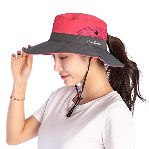 VICSPORT Women Sun Hat Wide Brim Bucket Mesh Boonie Cap Outdoor Fishing Hats UV Protection Light Red