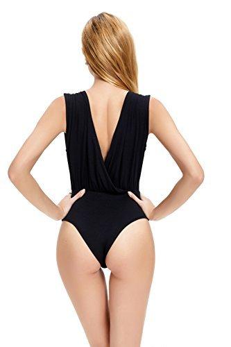 Casual Femme Manches Cocktail Été Col V Jumpsuit Bodysuit Abollria Combinaison Noir Soirée Body Combishort Sans Sexy Plage B0nWqx7FT