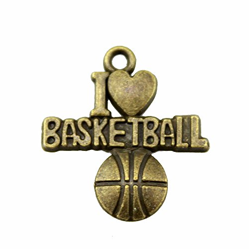 NEWME 40pcs I heart basketball Charms Pendant For DIY Jewelry Wholesale Crafting Necklace Making (antique bronze) - Bronze Basketball