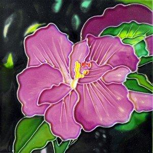 TC Lavender Hibiscus Decorative Wall Art Tile 4x4