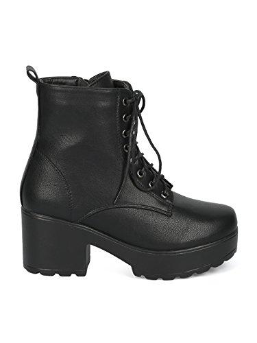 Lug Block Indulge Black Heel Women HE17 Faux Sole Suede I Mona Combat Bootie Platform Leatherette WWq4R1Yp