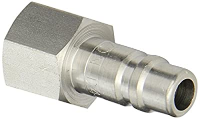 "Dixon Valve D4F4-S Stainless Steel 303 Industrial Interchange Pneumatic Fitting, Nipple, 1/2"" Coupling x 1/2"" - 14 NPTF Female Thread"