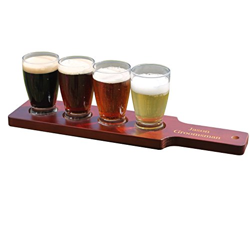 Personalized Beer Flight - Red/Brown Finish - Groomsmen Wedding Fathers Day Gift - Custom Engraved and Monogrammed for Free