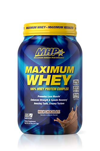 MHP Maximum Whey Protein, 25g Fast Acting Delicious Tasting Protein, Enhaces Strength & Speeds Recovery, Milk Chocolate, 25 Servings