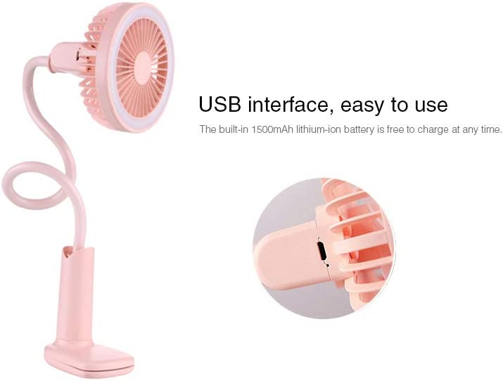 GXMTB Portable Mini Flexible Clip Fan with Night Light USB Handy Small Desk Desktop USB Cooling Fan for Child