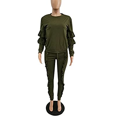 Akmipoem Women's Two Piece Outfits Ruffle Sleeve Sweatshirt and Long Pants Tracksuit at Women's Clothing store