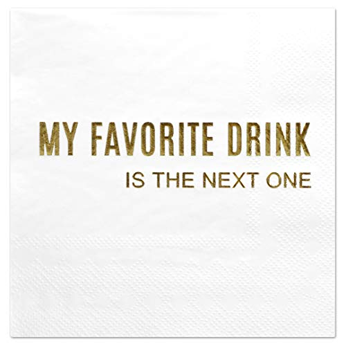 Andaz Press My Favourite Drink, Funny Quotes Cocktail Napkins, Gold Foil, Bulk 50-Pack Count 3-Ply Disposable Fun Beverage Napkins for Birthday Party, Holiday, Christmas, New Years Eve Bar