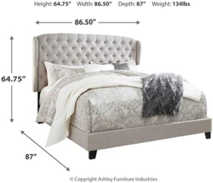 Signature Design By Ashley Jerary King Upholstered Tufted Wingback Bed Frame, Gray 41EODfPwWWL