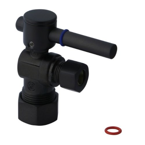 Kingston Brass CC53305DL Concord Decorative Quarter Turn Valve with 1/2-Inch and 3/8-Inch OD Compression, Lever Handle, Oil Rubbed Bronze