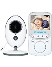 homese 2.4 inches Color LCD Wireless Digital Video Baby Monitor with Lullabies Infrared Night Vision Two-way Talkback Temperature Monitoring Voice Activation Function AC100~240V