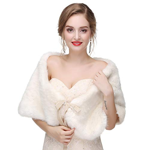 Leiothrix Women's 1920s Faux Fur Shawl with Velvet Ribbon Bridal Wedding Fur Wraps and Shawls Faux Mink Shawl for Women and Girls (Ivory)